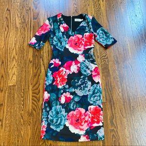 Eliza J Dresses - Eliza J Floral Elbow Sleeve  Scuba Sheath Dress